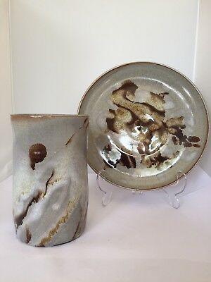 Great Pair Of Studio Pottery Pieces By Cyril Braunton • 38£