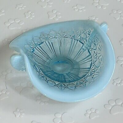 Early 1900s Blue Opalescent Glass Candy Dish Footed Bowl Diamond • 15.26£