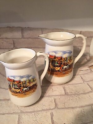 Pair Vintage Large Jugs Dickens Days Horse Carriage Decorative  • 9.99£