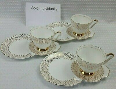 Queen Anne Bone China Tennis Cup Saucer / Plate 1950s Duo Set White Gold Vintage • 15£