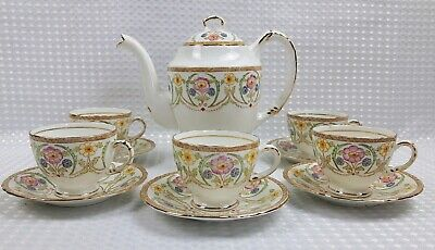 Sutherland Bone China Floral Coffee Set With Coffee Pot - Vintage Excellent  • 48£