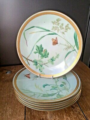 Set Of 6 Antique Mintons Aesthetic Movement Botanical Butterfly Cabinet Plates • 175£