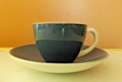 Poole Pottery Espresso Cup & Saucer - Twintone Green & White • 7.99£