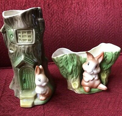 Vintage Decorative Vase X2  By Eastgate Pottery Fauna Withernsea England • 7.99£