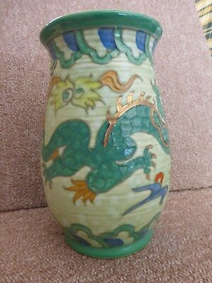 Charlotte Rhead Green Dragon Or Manchu Vase By Crown Ducal Excellent Condition • 110£