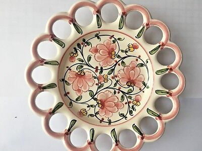 Anfora Agueda Hand Painted Plate, Made In Portugal, Flower Design, Lattice Edge • 12.99£