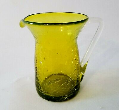 Vintage Miniature Green Crackle Glass Pitcher With Clear Handle • 9.19£