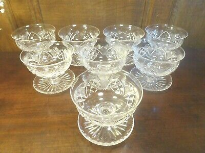 EXCELLENT VINTAGE BRIERLEY Crystal SET 8 Finely CUT GLASS SUNDAE DISHES/BOWLS • 34.95£
