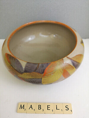 GRAY'S POTTERY PEARSONS ~HAND PAINTED - ART DECO STYLIZED LEAVES~ Bulb Bowl   • 29.99£