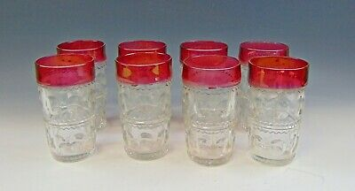 Lot Of 8 Tiffin Fine Glass KING'S CROWN-RUBY FLASHED Highball Glasses EX • 52.37£