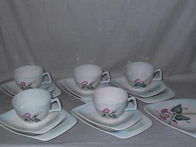 5 Carlton Ware Trios Morning Glory Convolvulus Pattern Cups Saucers Plates • 25£