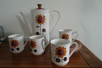 Lord Nelson Pottery Sunflower Design Coffee Pot With 4 Cups And Saucers • 16.99£