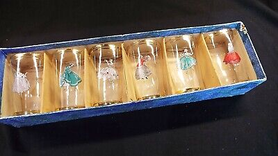 Set Of 6 Glass Tumblers With Ladies In Ballgowns 50s ? • 4.99£