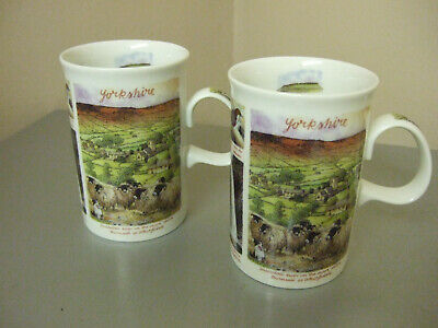 Pair Dunoon Pottery Yorkshire Mugs • 12.95£