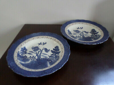 Booths Real Old Willow Pattern, Blue And White 2 X 8.25  Rimmed Bowls • 5£