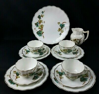 Victorian China 14 Piece Green Ivy Teaset - Trios Cake Plate Milk Jug - Vintage  • 28£