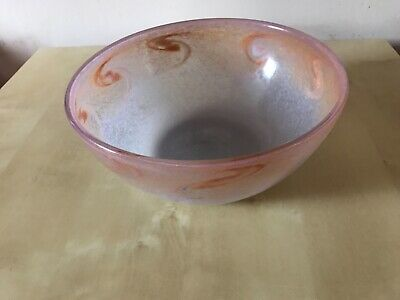Vasart Scottish Glass Swirl Bowl, Signed • 58£