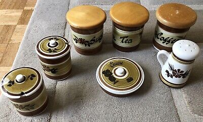 Toni Raymond Hand Painted Pottery Collection - Coffee Tea Sugar Cheese - 7 Piece • 50£