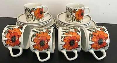 Vintage 1970's J & G Meakin, 'Poppy' 18pce Tea / Coffee Set • 40£