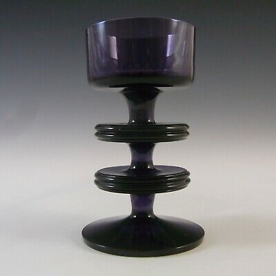 MARKED Wedgwood Amethyst Glass Sheringham Candlestick RSW13/2 • 45£