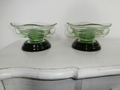 Vintage Sowerby Pair Of Elephant Head Green Glass Bowls With Black Glass Stands • 99£