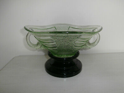 Vintage Sowerby Elephant Heads Large Green Glass Bowl With Black Glass Stand • 75£