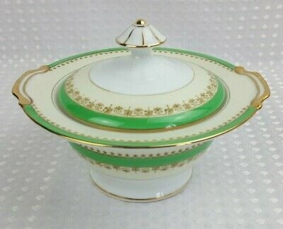 Vintage Bone China Lidded Sugar Bowl - Green & Cream Gilt - Excellent Condition  • 6£