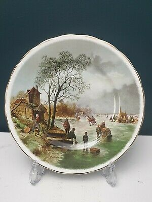 Fenton English Bone China Plate Skating Farmers After Painting By A.Schelfhout • 13.99£