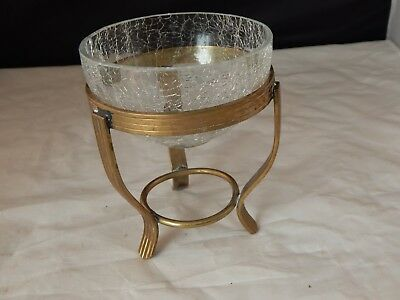 Vintage Brass Holder W/Crackle Glass Candy/Nut Dish 5 1/2  Tall X 4 1/2  In Dia. • 5.52£