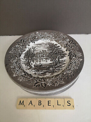 ENGLISH IRONSTONE TABLEWARE EIT ~MEDMENHAM ABBEY~ Engraved Side Plates X 6 • 14.99£