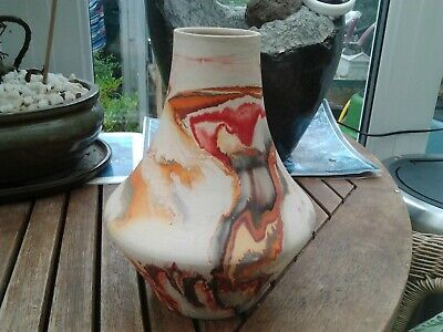 Vintage Nemadji Swirl Pattern Pottery Vase Nice Condition 20 Cms Tall No Chips E • 49.99£