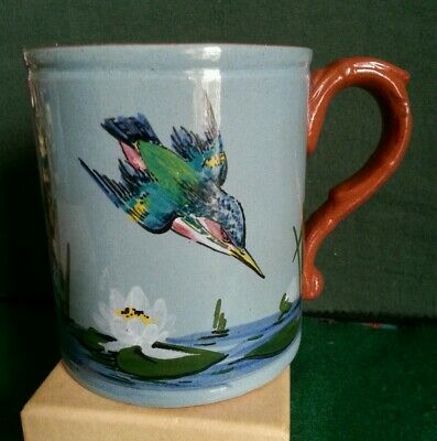 Watcombe Pottery Large Mug With Kingfisher Design On A Blue Background • 10£
