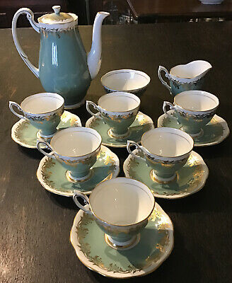 Very Handsome Royal Standard 15 Piece Coffee Set. Grey/Green & White With Gilt • 65£