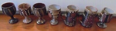Lot 7 Pieces Of Briglin Pottery 1960 1970 Goblet Mug Cup Wax Resist • 65£