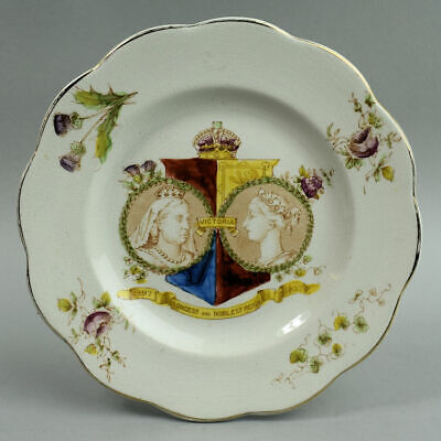 Antique Staffordshire Pottery Queen Victoria Diamond Jubilee Plate 1897 • 20£