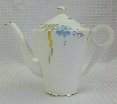 Delphine 1930s Art Deco 700ml Tea/Coffee Pot - Hand Painted Floral Gilt Vintage  • 22£
