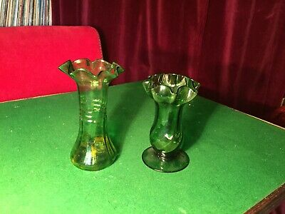 Two Art Nouveau Green Glass Small Vases • 15£
