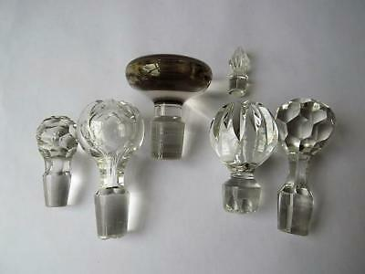 Five Blown & Cut Glass Decanter Stoppers + One Pressed Glass Stopper • 29.99£