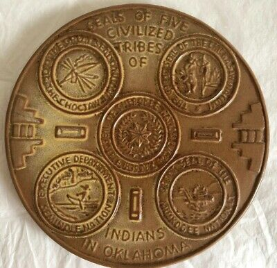 Frankoma Seal Of Five Civilized Tribes Of Indians In Oklahoma Trivet • 18£