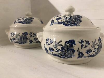 Vintage Set Of 2 Churchill Blue And White Serving Tureens • 60£