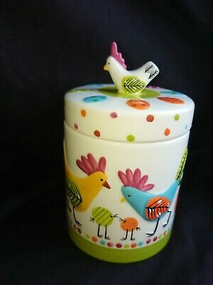 M&S CHICKEN Handpainted Raised Relief Stoneware Storage Jar  • 17£