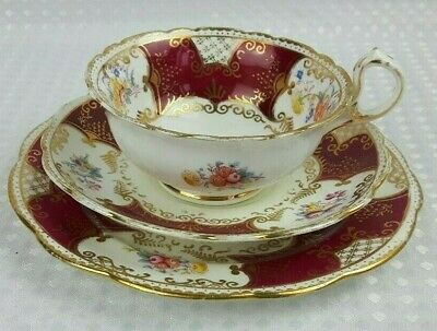 Antique Redfern & Drakeford Balmoral Bone China Floral Tea Trio 1/4 • 16£