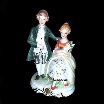 Vintage Porcelain Victorian Pair Of Man & Sitting Woman Figurine Foreign  • 20£