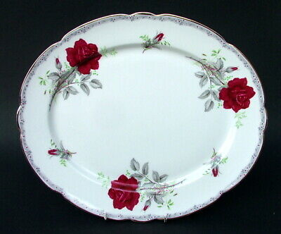 Royal Stafford Roses To Remember Red Oval Serving Platter 33cm - Looks In VGC • 19.95£