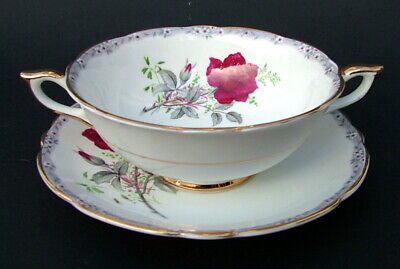 Royal Stafford Roses To Remember Red 2-Handle Soup Dessert Bowls & Stands In VGC • 9.95£