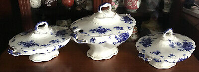 A Trio Of Antique China Tureens. J Maddock Sons. Blue & White. • 50£