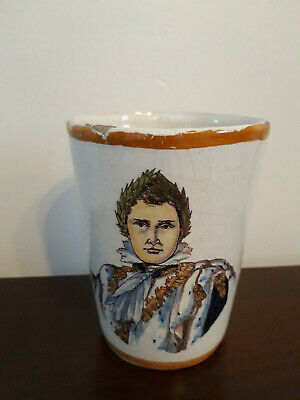 Antique (19th C)  French Faience Beaker / Mug Featuring Emperor Figure • 15£
