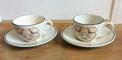 Cup & Saucers X 2 Pig Design By Arthur Wood • 10£