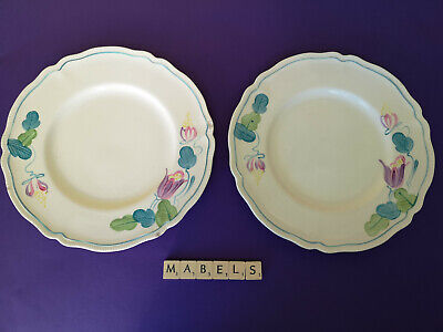 GRAY'S POTTERY ~HAND PAINTED GREEN & LILAC FLOWERS~ Dinner Plates X 2  • 14.99£