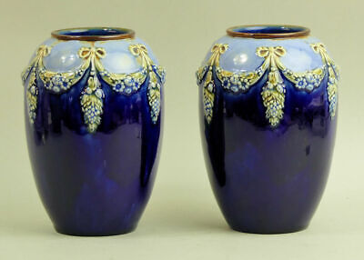 A Decorative Pair Of Royal Doulton Art Pottery Vases By Winnie Bowstead C.1910 • 95£